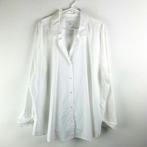 J.Jill  Plus Perfect Shirt White Cotton Top Button